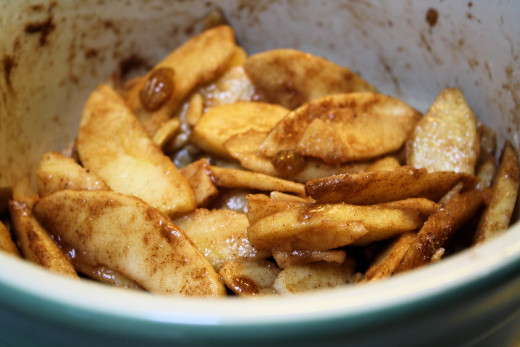 Apple Slices with Cinnamon and Raisins