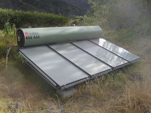 This is an example of what a solar power panel used for a water heater.