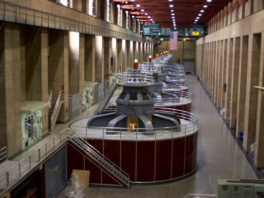 These are some of the generators inside the Hoover Dam.