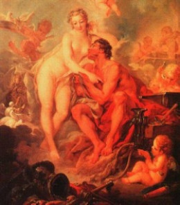 Hephaestus inspired by Aphrodite's Beauty, and is her husband, but she's not the faithful kind of wife