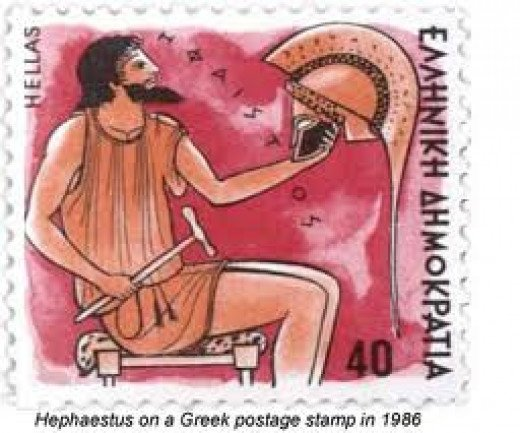 Hephaestus on a Greek Stamp in 1965