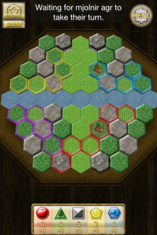 Here I (red) managed to expand onto the territory of another player and take his special Mineral tile before he could - whilst I'm sure he didn't appreciate that it's the common case of 'you snooze you lose' in Colony!