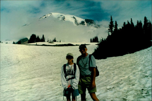 My Dad and I climbing Mount Rainier in Washington state.