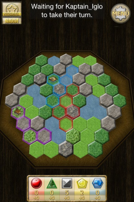 In this game, I'm once again the Purple player and have taken the bottom left corner away from the other two players' territory. This sets them up to fight later whilst I take my own land peacefully.
