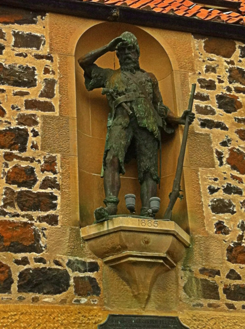 Robinson Crusoe Statue in Lower Largo, marks the site where Alexander Selkirk was born