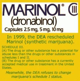 Marinol, the commercial name for the prescription drug Dronabinol