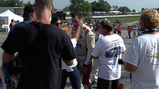 A woman, tentatively identified as Mike Steen's girlfriend, slapped Papis immediately after his post race interview
