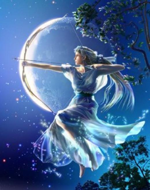 Artemis, Greek goddess of the hunt and Moon