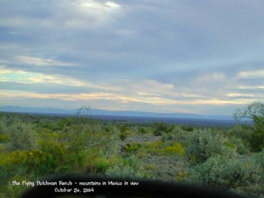 Distant  Sierra Madre Occidenal in Old Mexico viewed from the ranch compound.  Sometimes they look blue, sometimes purple, always breathtaking.  As a child, I thought everyone had a view of distant mountains like this!