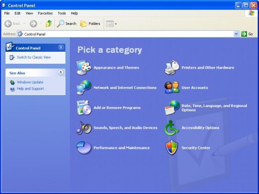 The Control Panel page selection