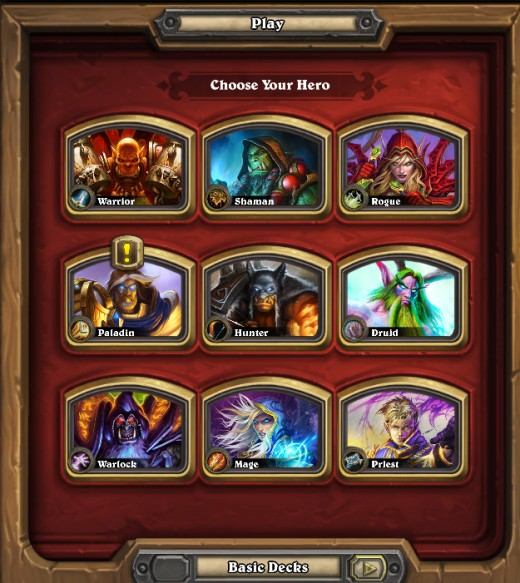Each class represents a different deck and play style.