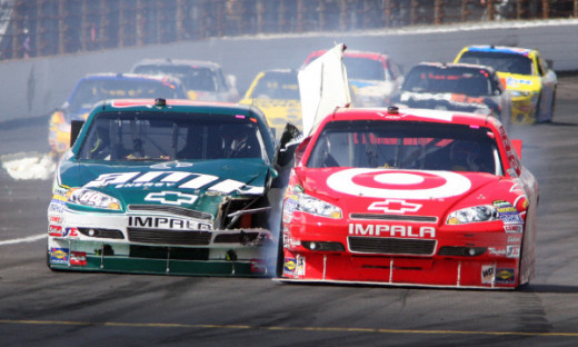 Montoya collides with Dale Earnhardt Jr, one of many drivers involved in a Montoya crash over the years