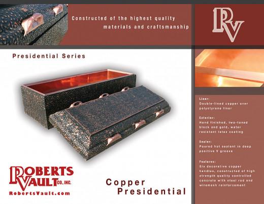 Roberts Vault Company Copper Presidential Burial Vault www.RobertsVault.com