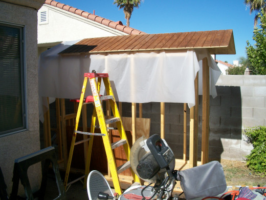 After four roof sections are installed.