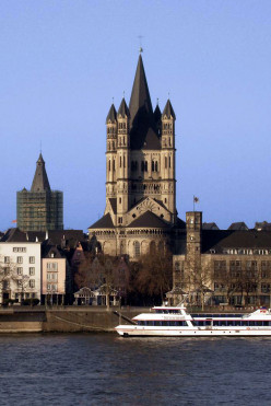 Gross Sankt-Martin Chuch, Cologne, seen from the Rhine