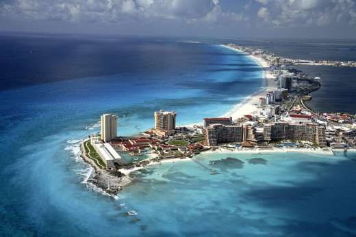 View of Cancun Mexico from the top.