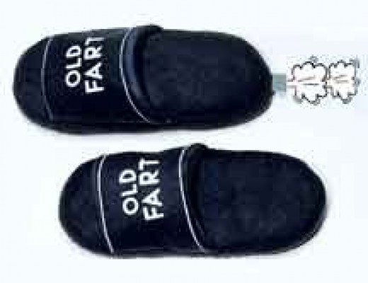 "Old Fart Slippers break wind as you walk. They are a gas. Present these sound off slippers to any ""fart""unate old timer and get ready for explosive laughter. One size fits all.  (copied from harrietcarter.com)"