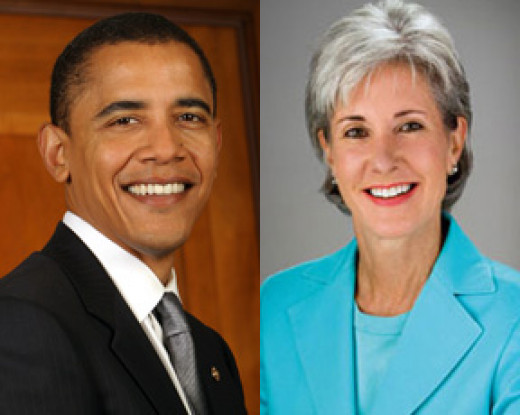 President Barack Obama and Head of Health and Human Services Kathleen Sebelius