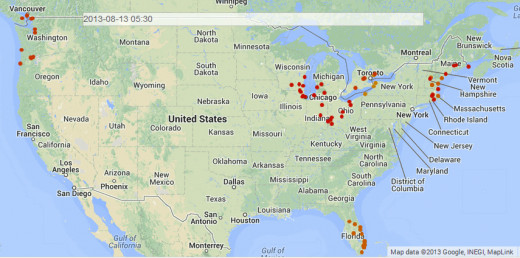 Map shows UFO hotspot activity for period from 8/6/13 through 8/13/13.