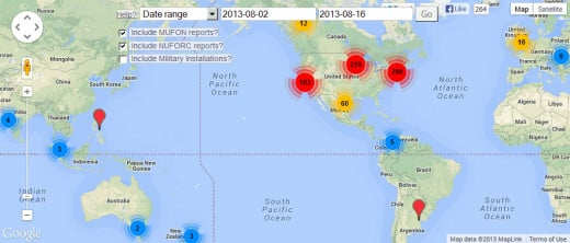 Worldwide UFO activity for 8/2/13 through 8/16/13 (created using sightingsreport.com's mapping utility).