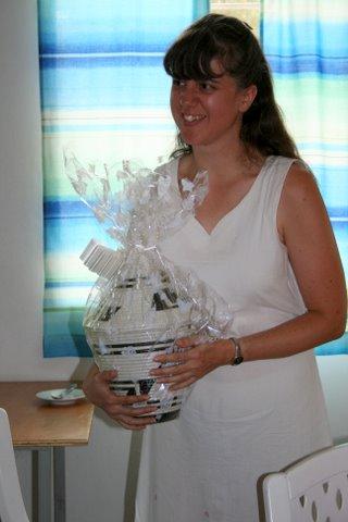 Author wearing linen dress in July 2008