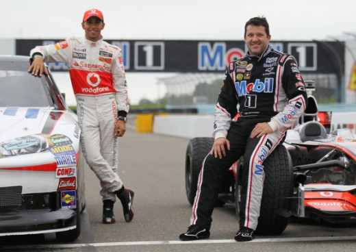 Lewis Hamilton (left) and Tony Stewart swapped cars for a Mobil oil commercial