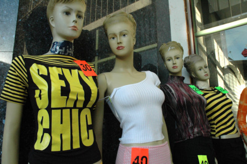 Mannequins in a store front in Ramallah