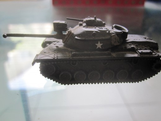 This is a miniature of a M-48 Patton tank, which was the main tank used by the US and the South Vietnamese army during the Easter Offensive.