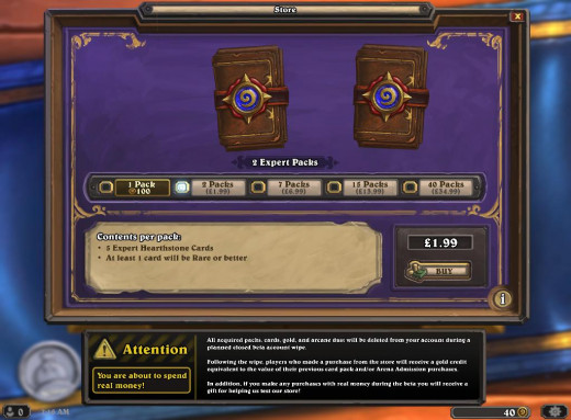 Hearthstone offers multiple payment methods and quantities, but sadly only cards are up for sale so far.