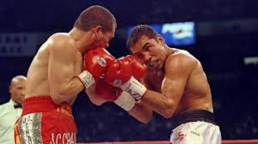 Oscar De La Hoya beat Julio Cesar Chavez twice in the Jr. Welterweight division.