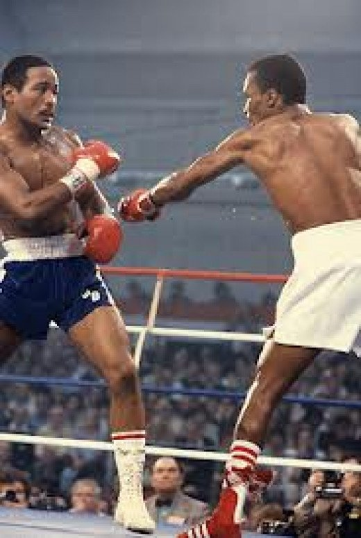 Wilfred Benitez, seen here fighting Sugar Ray Leonard, is the youngest champion in boxing history winning the title at 17.