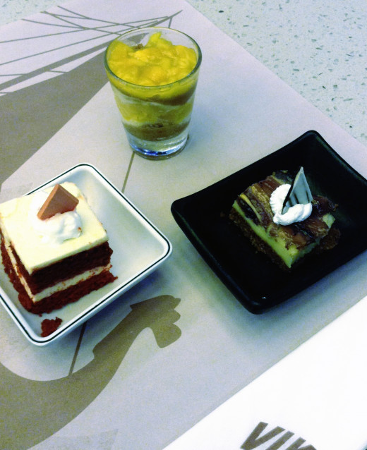 Mini cake version of cheesecake. I can't remember the orher one. The one on shot glass, mango float.