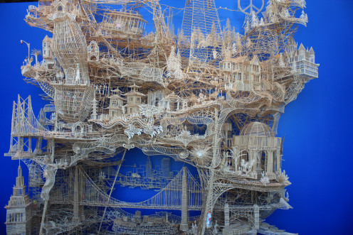 this incredible sculpture using thousands of toothpicks, took 37 years to complete by Scott Weaver