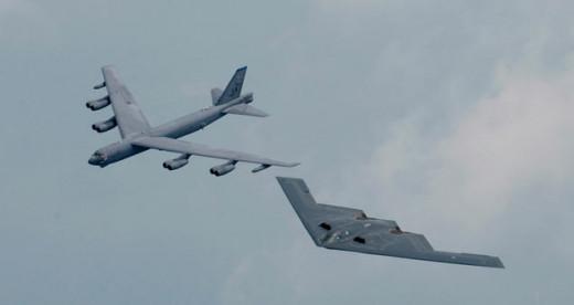 Left-B52, right-B2 bomber