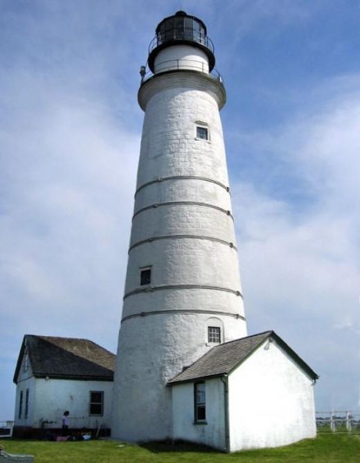 Boston Light lighthouse on Little Brewster island in Boston Harbor in Massachusetts built in 1716