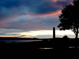 The monument that marks the Battle of Largs between the Scots and Viking armies.