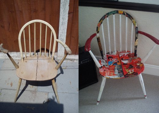 A before and after shot of the chair