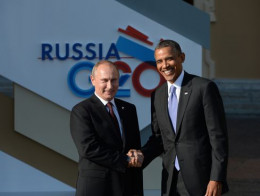 President Obama of the United States and President Vladimir Putin of Russia at the G20 conference in St. Petersburg, Russia.