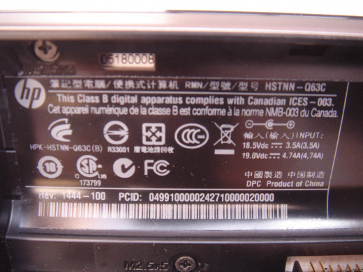 Product information under the battery.