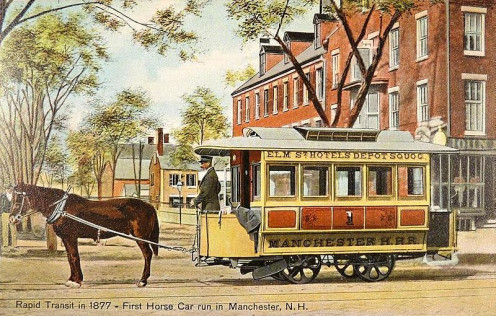 Street cars were first pulled by horses or mules, as in hits New Hampshire example.