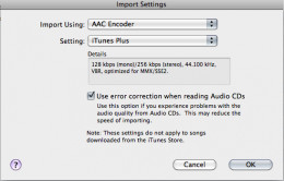 "Check ""use error correction"" box if the CD is damaged to prevent sound errors. Then click ok to begin rip"