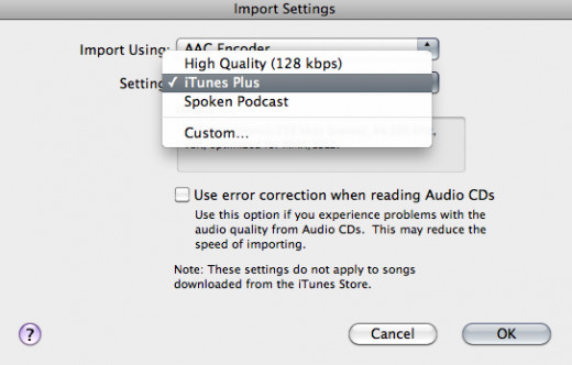 Sound type- iTunes Plus is usually best
