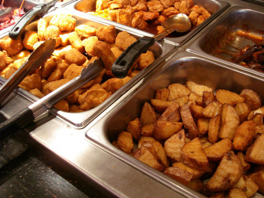 Buffets offer a variety of food choices.