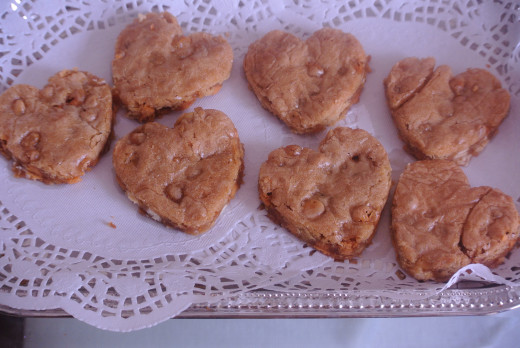 Heart-shaped white chocolate chip blondies I baked for Mother's Day