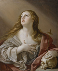 Mary Magdalene, shown in a painting by Guido Reni, repenting of her former sinful ways.[15] The Walters Art Museum.