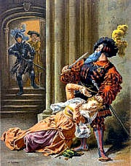 Bluebeard about to kill his last wife
