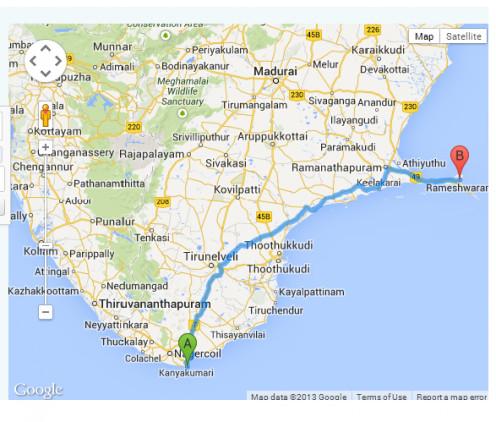 Map of Rameshwaram and Kanyakumari