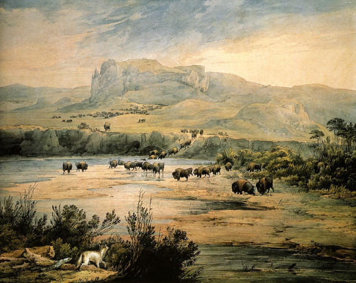 File: Landscape with Herd of Buffalo on the upper Missouri. Watercolor by Karl Bodmer 1833.jpg