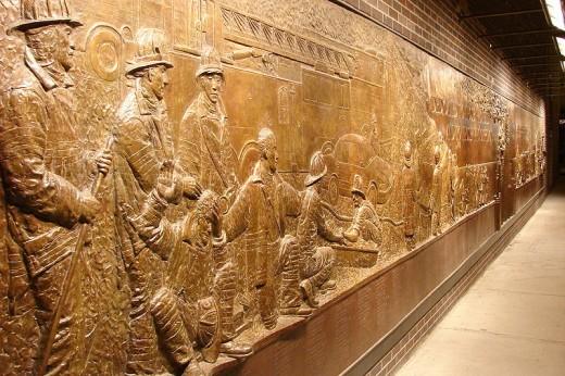The bronze mural is located just south of the World Trade Center site.