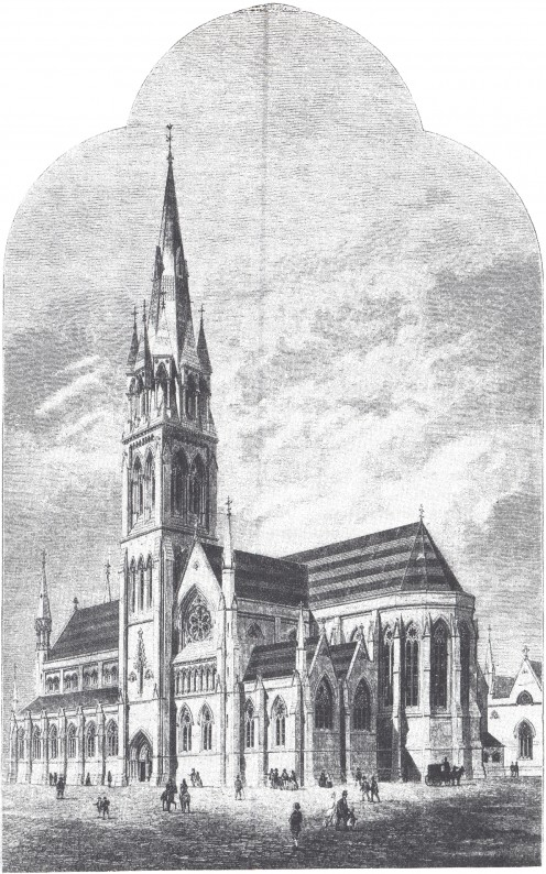 Drawing of St. Macartan's Cathedral in Monaghan, as planned by J. J. McCarthy, 1868; JSheehey: 'JJMcCarthy & the Gothic Revival in Ireland', in: 'The Builder',12.9.1868, p. 675